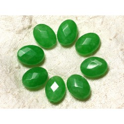 Fil 39cm 27pc env - Perles de Pierre - Jade Ovales Facettés 14x10mm Vert