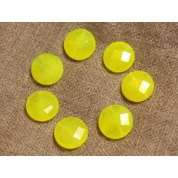 Fil 39cm 27pc env - Perles de Pierre - Jade Palets Facettés 14mm Jaune Fluo