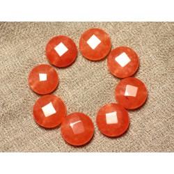 Fil 39cm 27pc env - Perles de Pierre - Jade Palets Facettés 14mm Orange