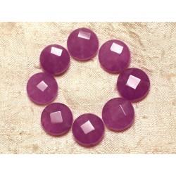 Fil 39cm 27pc env - Perles de Pierre - Jade Palets Facettés 14mm Violet rose