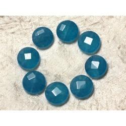 Fil 39cm 27pc env - Perles de Pierre - Jade Palets Facettés 14mm Bleu