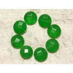 Fil 39cm 27pc env - Perles de Pierre - Jade Palets Facettés 14mm Vert