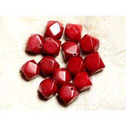 Fil 39cm 25pc env - Perles de Pierre - Jade Cubes Facettés 14-15mm Rouge