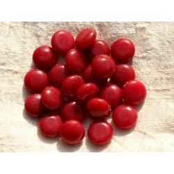 Fil 39cm 31pc env - Perles de Pierre - Jade Palets 12mm Rouge