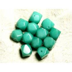 Fil 39cm 25pc env - Perles de Pierre - Jade Cubes Facettés 14-15mm Vert Turquoise