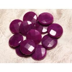 Fil 39cm 15pc env - Perles de Pierre - Jade grands Palets Facettés 25mm Violet Magenta