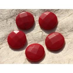 Fil 39cm 15pc env - Perles de Pierre - Jade grands Palets Facettés 25mm Rouge