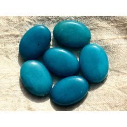 Fil 39cm 14pc env - Perles de Pierre - Jade grands Ovales 25x18mm Bleu Turquoise