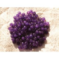 Fil 39cm 140pc env - Perles de Pierre - Jade Rondelles Facettées 4x2mm Violet