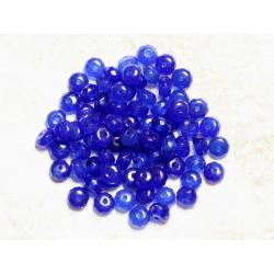 Fil 39cm 90pc env - Perles de Pierre - Jade Rondelles Facettées 6x4mm Bleu Roi