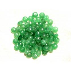 Fil 39cm 90pc env - Perles de Pierre - Jade Rondelles Facettées 6x4mm Vert