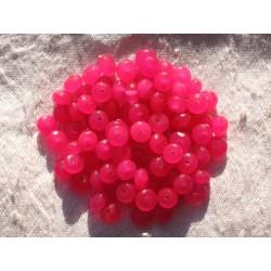 Fil 39cm 90pc env - Perles de Pierre - Jade Rondelles Facettées 6x4mm Rose Fuchsia