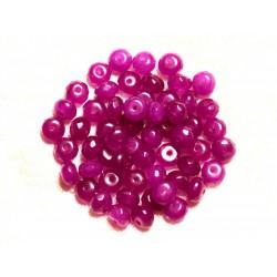 Fil 39cm 90pc env - Perles de Pierre - Jade Rondelles Facettées 6x4mm Violet Rose Magenta