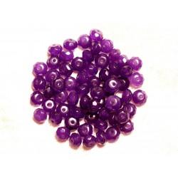 Fil 39cm 90pc env - Perles de Pierre - Jade Rondelles Facettées 6x4mm Violet