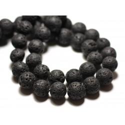 Fil 39cm 37pc env - Perles de Pierre - Lave noire Boules 10mm