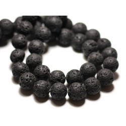 Fil 39cm 23pc env - Perles de Pierre - Lave noire Boules 16mm