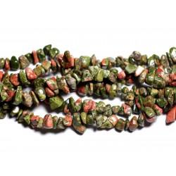 Fil 89cm 240pc env - Perles de Pierre - Unakite Rocailles Chips 5-10mm