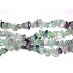 Fil 89cm 280pc env - Perles de Pierre - Fluorite Multicolore Rocailles Chips 5-10mm
