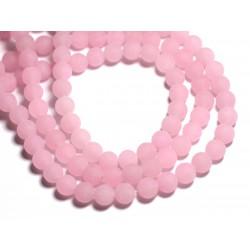 Fil 39cm 48pc env - Perles de Pierre - Jade Boules 8mm Rose clair Mat givré