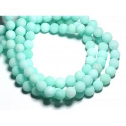 Fil 39cm 45pc env - Perles de Pierre - Jade Boules 8mm Vert Turquoise Mat givré