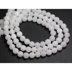 Fil 39cm 47pc env - Perles de Pierre - Jade Boules 8mm Blanc Mat givré