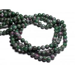 Fil 39cm 68pc env - Perles de Pierre - Jade Boules 6mm Vert Rose