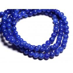 Fil 39cm 67pc env - Perles de Pierre - Jade Boules 6mm Bleu roi