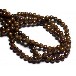 Fil 39cm 67pc env - Perles de Pierre - Jade Boules 6mm Marron Ocre