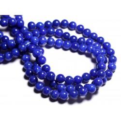 Fil 39cm 50pc env - Perles de Pierre - Jade Boules 8mm Bleu Roi
