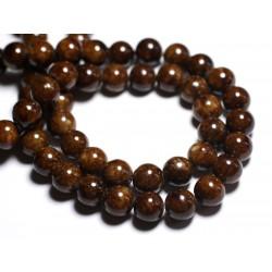 Fil 39cm 40pc env - Perles de Pierre - Jade Boules 10mm Marron Ocre