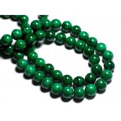 Fil 39cm 40pc env - Perles de Pierre - Jade Boules 10mm Vert Empire