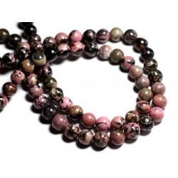 Fil 39cm 38pc env - Perles de Pierre - Rhodonite rose et noir Boules 10mm