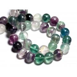 Fil 39cm 28pc env - Perles de Pierre - Fluorite Multicolore Boules 14mm