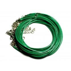 100pc - Colliers Tours de Cou Coton ciré 2mm vert empire