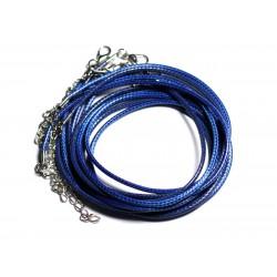 100pc - Colliers Tours de Cou Coton ciré 2mm Bleu nuit roi