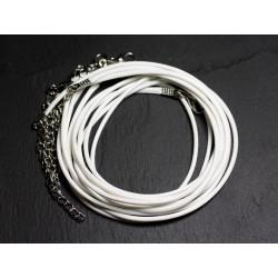 100pc - Colliers Tours de Cou Coton ciré 2mm Blanc