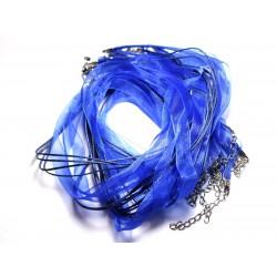 100pc - Colliers Tours de Cou 47cm Coton et Tissu Organza 10mm Bleu Roi