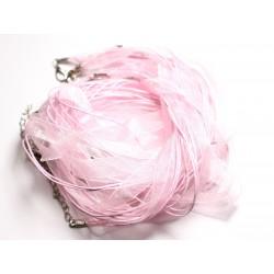100pc - Colliers Tours de Cou 47cm Coton et Tissu Organza 10mm Rose clair