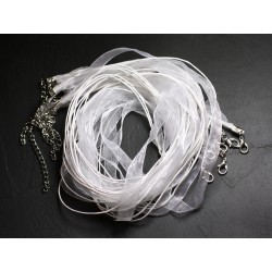 100pc - Colliers Tours de Cou 47cm Coton et Tissu Organza 10mm Blanc