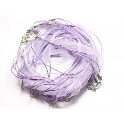 100pc - Colliers Tours de Cou 47cm Coton et Tissu Organza 10mm Violet Mauve