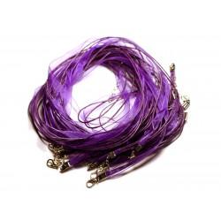 100pc - Colliers Tours de Cou 47cm Coton et Tissu Organza 7mm Violet