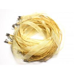 100pc - Colliers Tours de Cou 47cm Coton et Tissu Organza 10mm Jaune clair Pastel