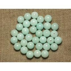 Fil 39cm 48pc env - Perles de Pierre - Jade Boules 8mm Bleu clair Turquoise