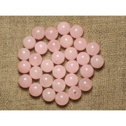 Fil 39cm 48pc env - Perles de Pierre - Jade Boules 8mm Rose clair