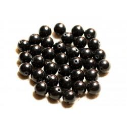 Fil 39cm 48pc env - Perles de Pierre - Jade Boules 8mm Noir