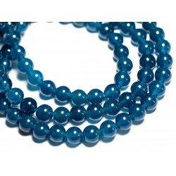 Fil 39cm 48pc env - Perles de Pierre - Jade Boules 8mm Bleu vert Paon Canard