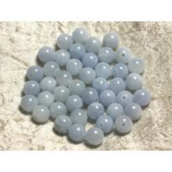 Fil 39cm 48pc env - Perles de Pierre - Jade Boules 8mm Bleu clair Pastel