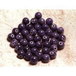 Fil 39cm 48pc env - Perles de Pierre - Jade Boules 8mm Violet Indigo