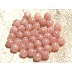 Fil 39cm 48pc env - Perles de Pierre - Jade Boules 8mm Rose Corail Pêche