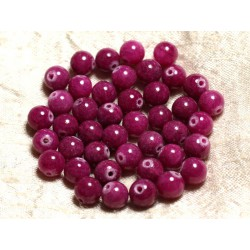 Fil 39cm 48pc env - Perles de Pierre - Jade Boules 8mm Rose Fuchsia Rubis